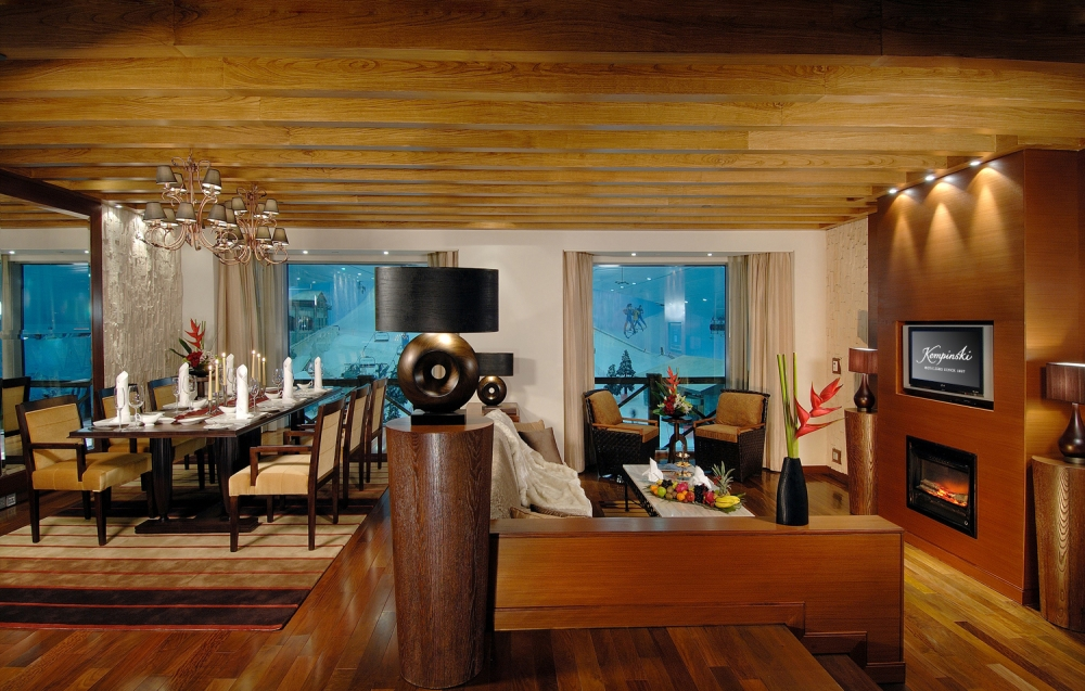 Living and Dining Area in Grand Ski Chalet