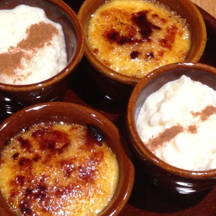 Crema Catalana and rice pudding at Salero Tapas & Bodega