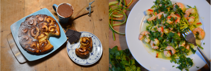 saint v sinner - prawn courgette linguini and cinnamon buns