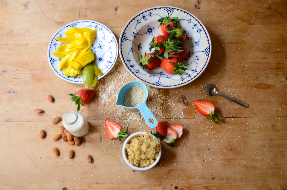 Saint & Sinner: Mango, almond milk quinoa porridge and Comté & rosemary gnocchi with pine nut garlicbutter