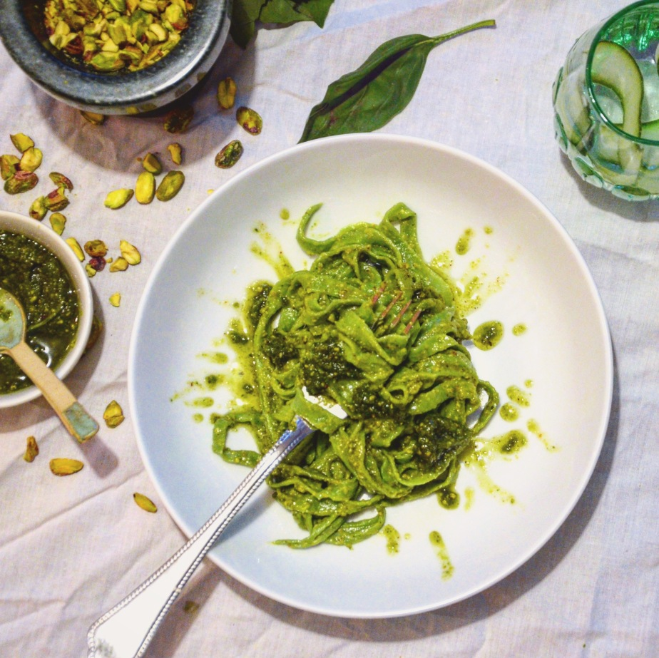Recipe: Kale linguini with pistachio pesto